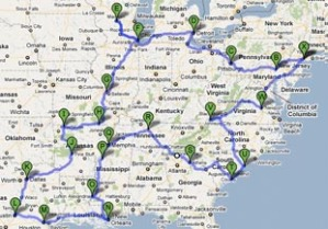 Map of road trip USA